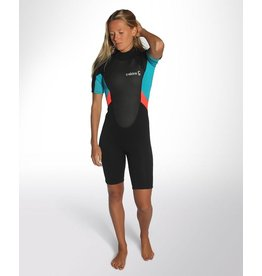 C-Skins C-Skins - 3/2 - Element Womens Flatlock Shorty - UK 6 - Black/Coral/Aqua