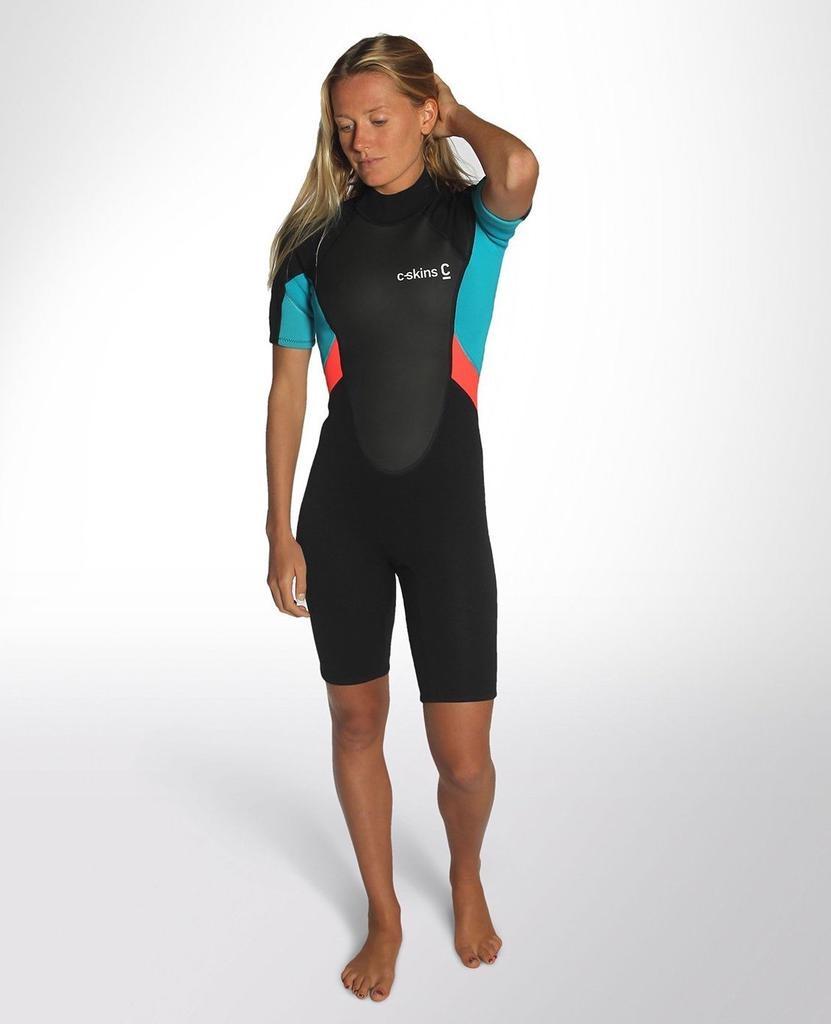 C-Skins C-Skins - 3/2 - Element Womens Flatlock Shorty - UK 14 - Black/Coral/Aqua