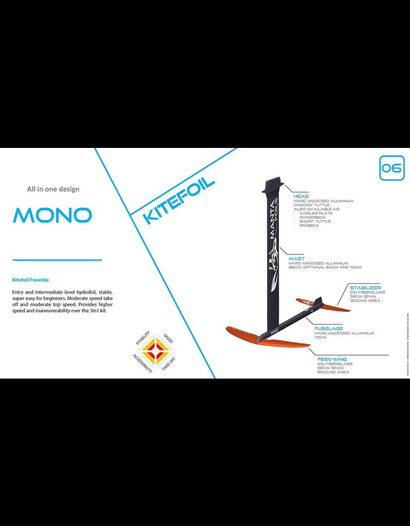 Mantafoil Manta Mono kitefoil Alu/G10 4 point/plate 550cm2/260cm2