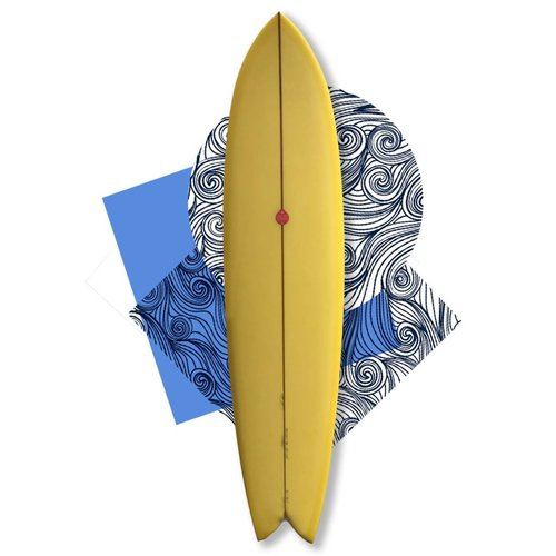 Josh Hall fish simmons 7'7 yellow/SOLD/