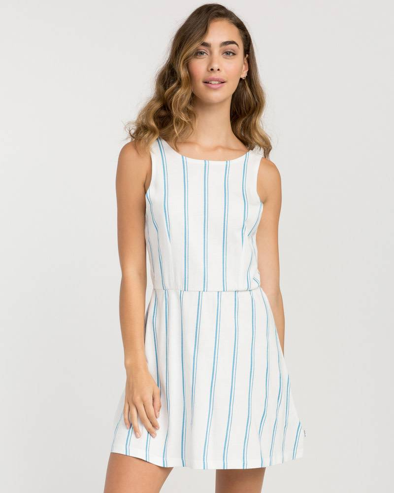 RVCA RVCA Peony Striped White Dress