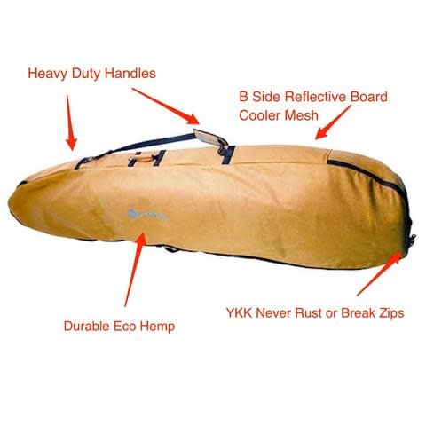 Wavetribe Wavetribe 6'7 shortboard hemp travel double boardbag brown