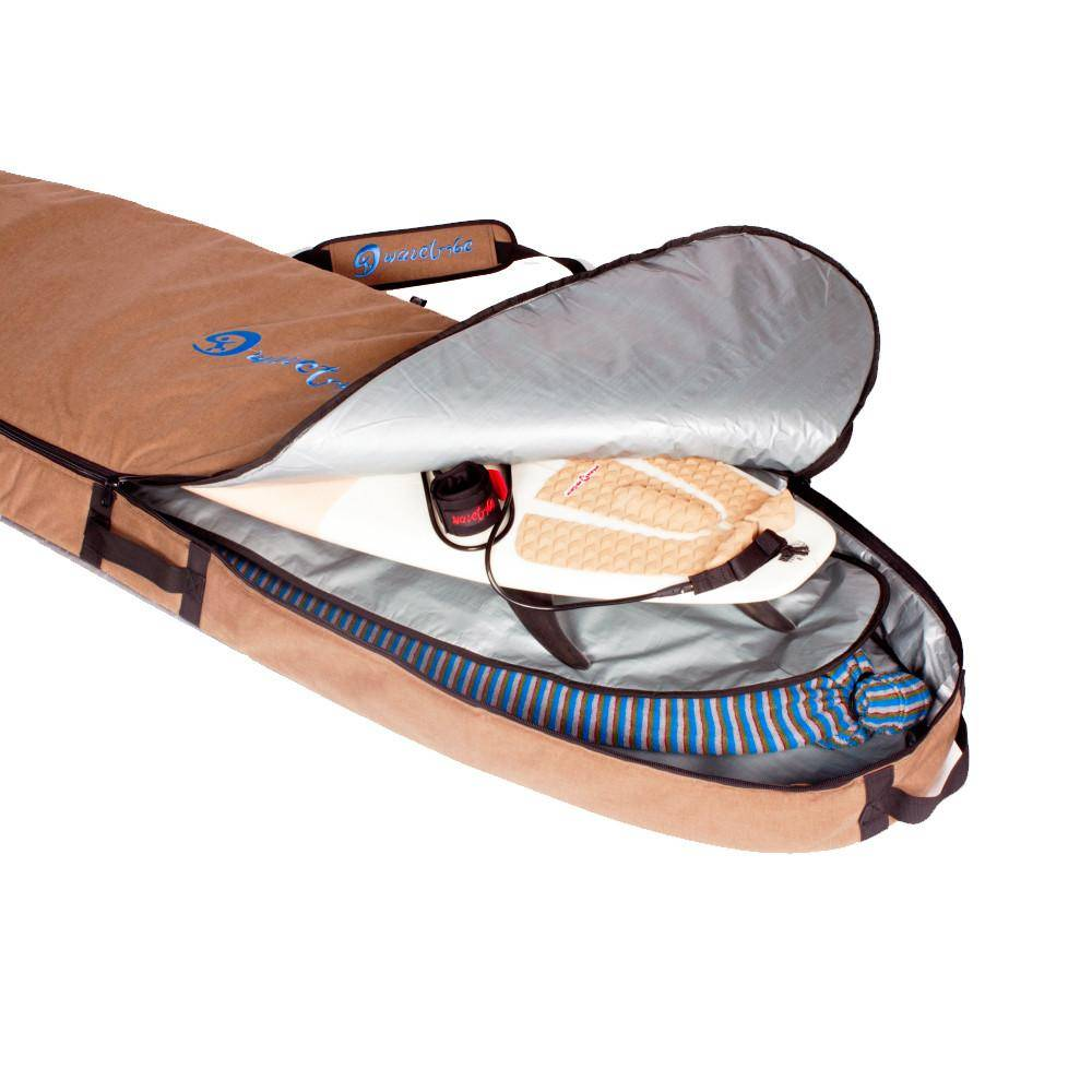 Wavetribe 8'6 hemp travel malibu double boardbag brown