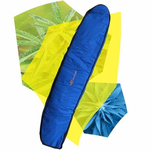 Wavetribe Wavetribe 9'6 wheeled hemp triple longboard travel boardbag blue