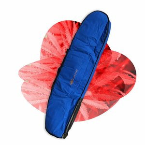 Wavetribe 7'6 wheeled hemp triple midlength travel boardbag blue