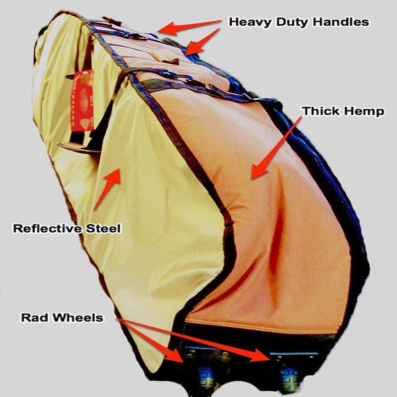 Wavetribe Wavetribe 6'8 wheeled hemp triple travel boardbag brown