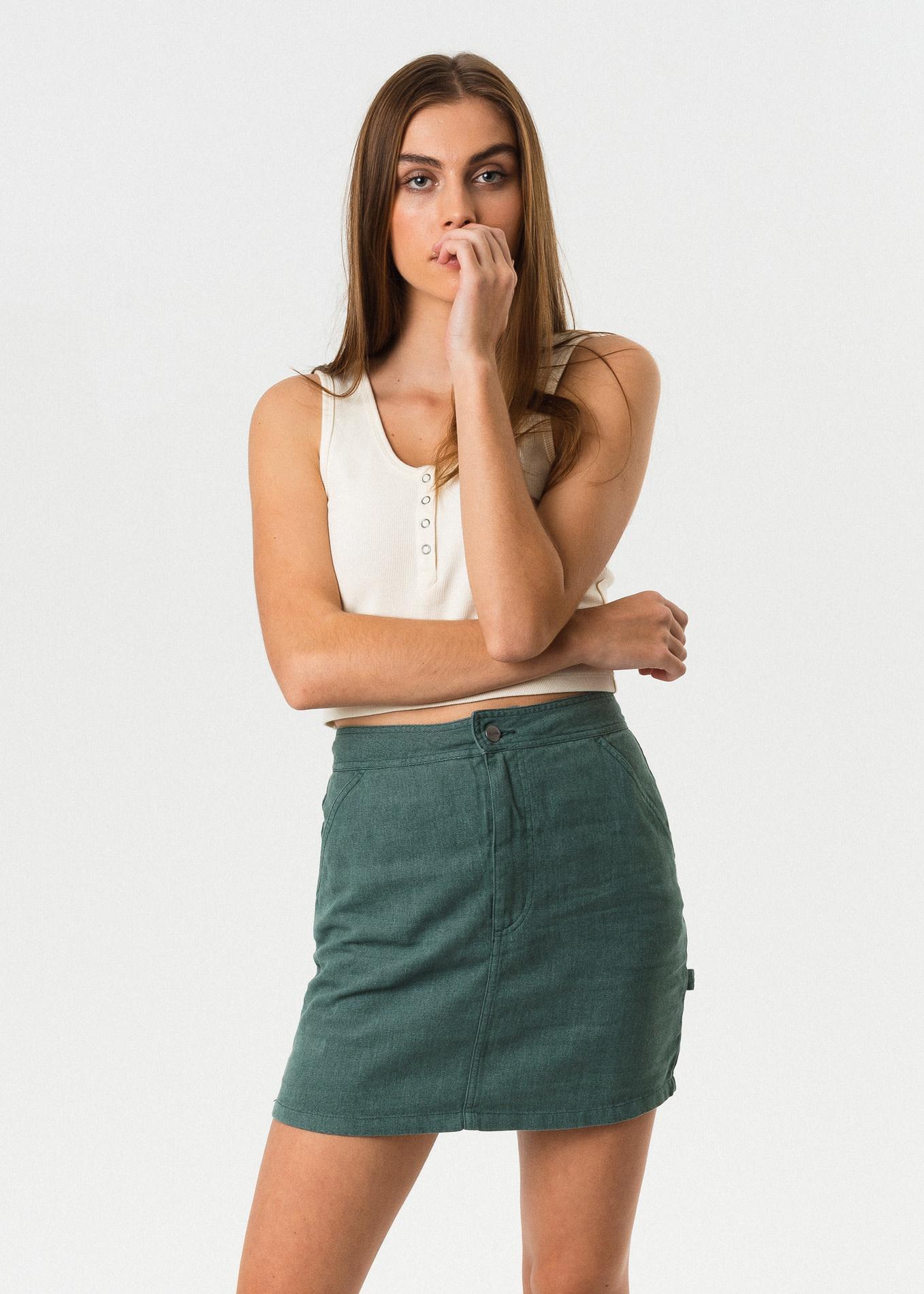 Afends Reena Hemp Skirt Silver Pine