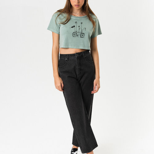 Afends Ride Away Wide Neck Cropped Tee Dew
