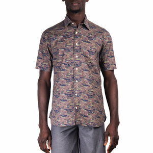 Mami Wata Surf Mami Wata Surf Surfing Zebras Shirt Blue Brown