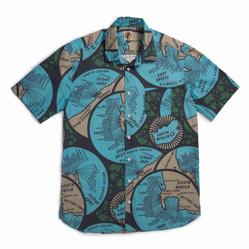 Mami Wata Surf Mami Wata Surf Men's Maps Shirt Blue Green