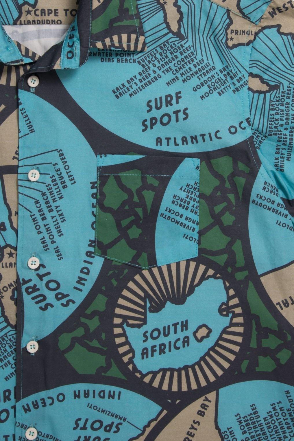 Mami Wata Surf Mami Wata Surf Men's Maps Shirt Blue Green