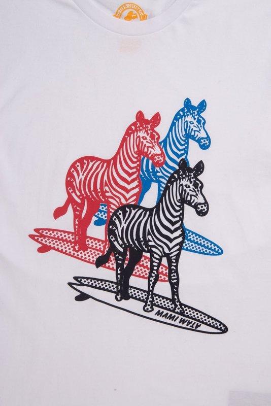 Mami Wata Surf Mami Wata Surf Men's Three Surfing Zebras Tee White