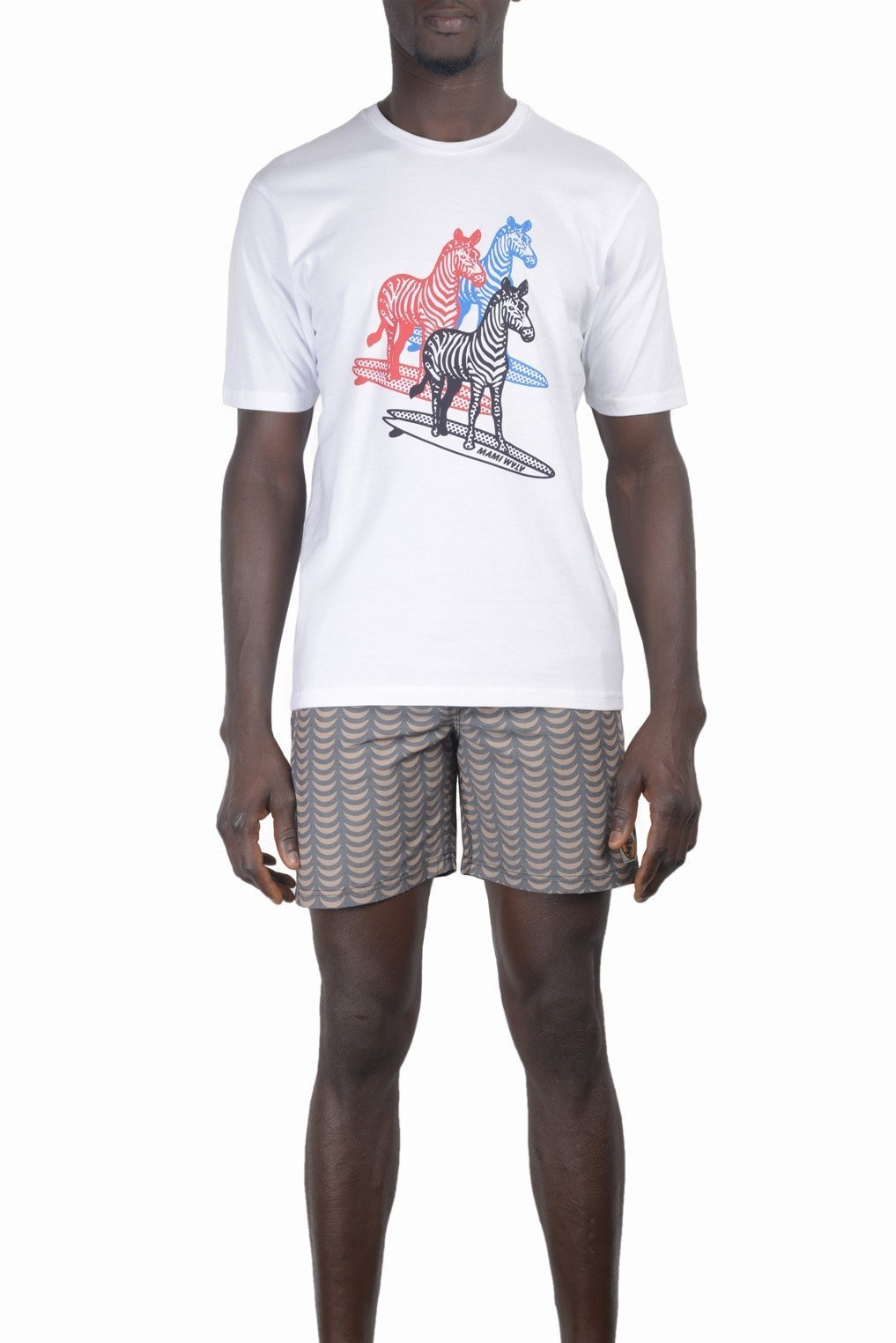Mami Wata Surf Mami Wata Surf Men's Three Surfing Zebras Tee White