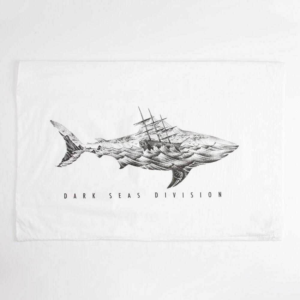 Dark seas pillow case white