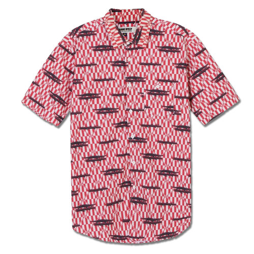 Mami Wata Surf Mami Wata Surf Men's Crocodile Log Shirt Red Blue Ecru