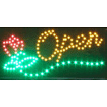 """LED bord / verlichting """"OPEN""""met bloem"""