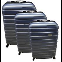 ABS koffer set, 3 delig, 4 wiel (#188) Blauw, 20, 26, 28 inch