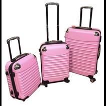 ABS koffer set, 3 delig, 4 wiel (#8008) Roze,18, 20, 26 inch