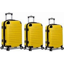 ABS Kofferset, 3 delig, 4 wiel (#8008) Geel, 18, 20, 26 inch