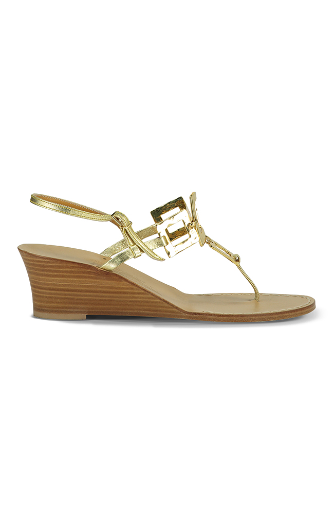 Canfora for Mala Chetty sandels Like Jackie O- Gold