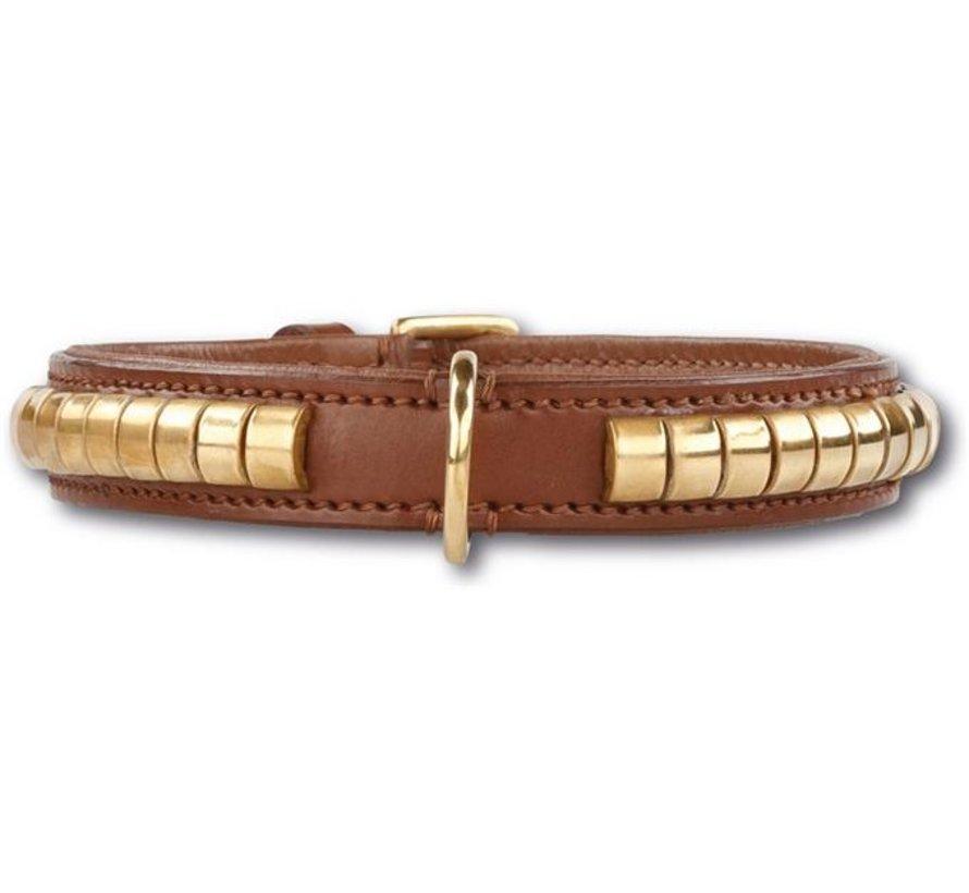 Dog Collar Gold Row Brown