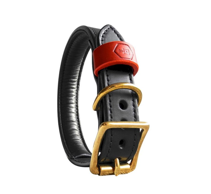 Dog Collar Bridle Leather Jet Black