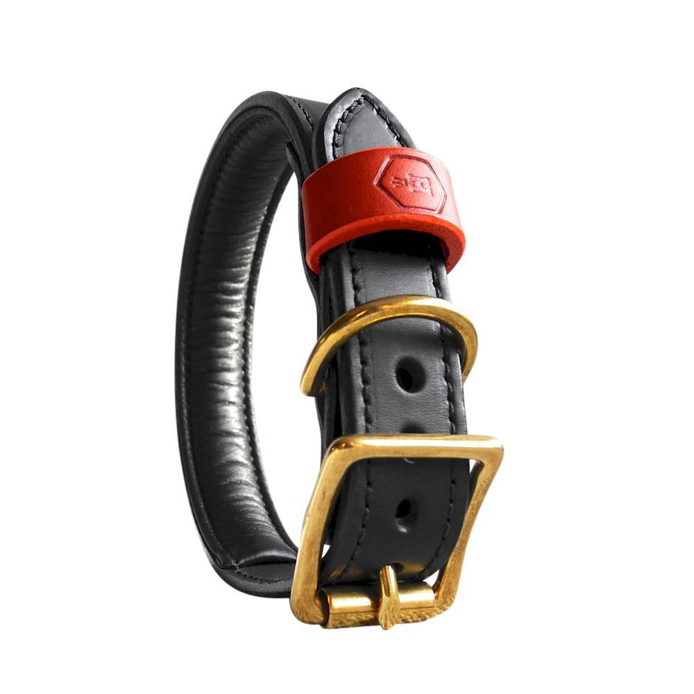 Hondenhalsband Bridle Leather Jet Black