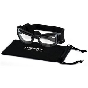Dogoptics Dog Sunglasses Biker Black Frame Clear Lens