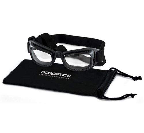 Dogoptics Dog Sunglasses Biker Black Frame Clear Lens
