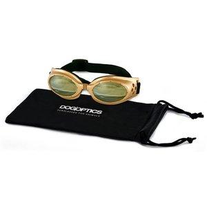 Dogoptics Dog Sunglasses Biker Gold frame/Light Mirror lens