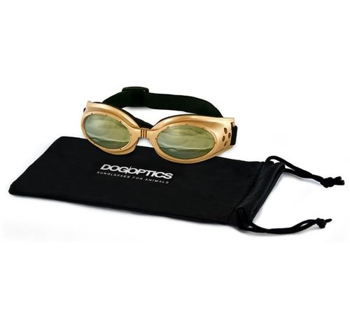 Dogoptics Dog Sunglasses Biker Gold frame/Light Mirror lens
