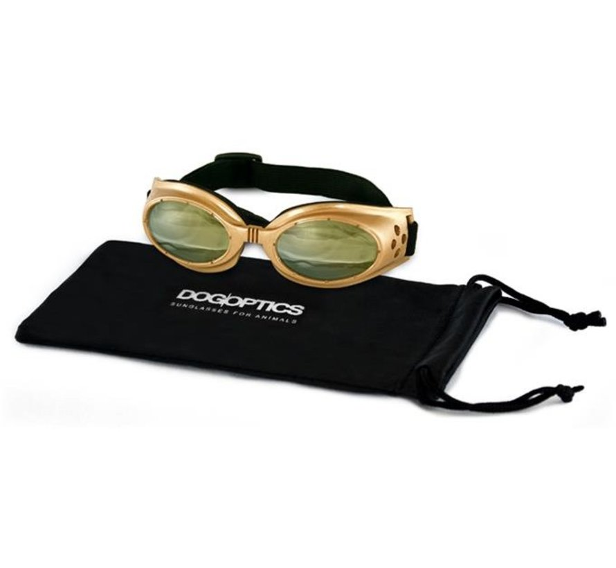 Dog Sunglasses Biker Gold frame/Light Mirror lens