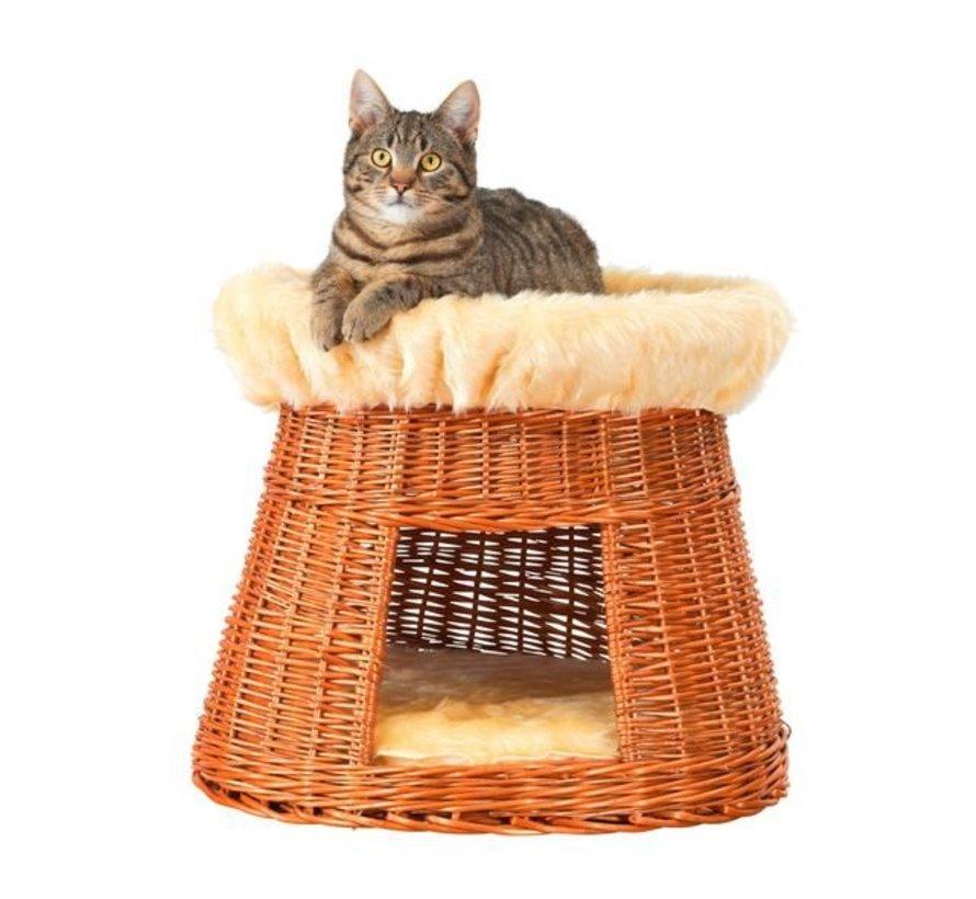 Ronde Bruine Rieten Kattenmand