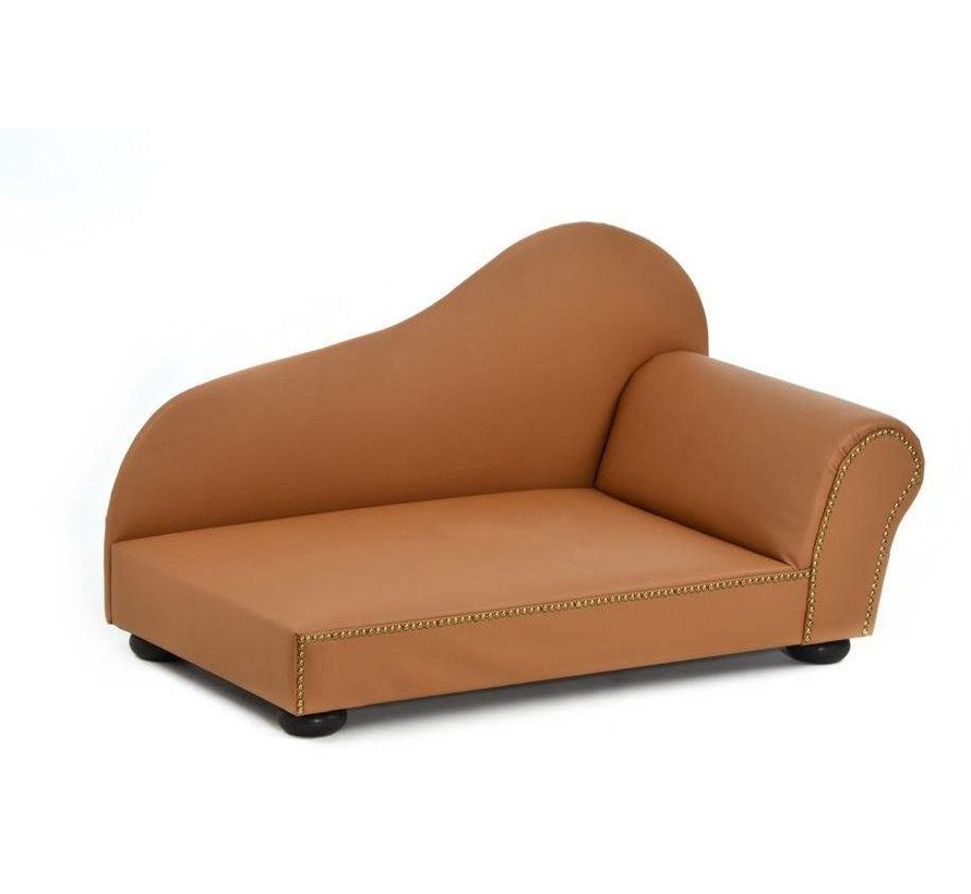 Dog Bed Ottomane Faux Leather Brown