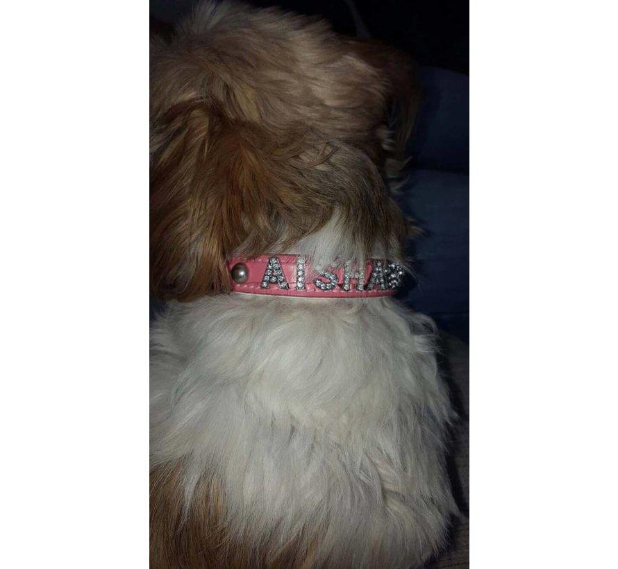 Hondenhalsband met naam Medium Pink