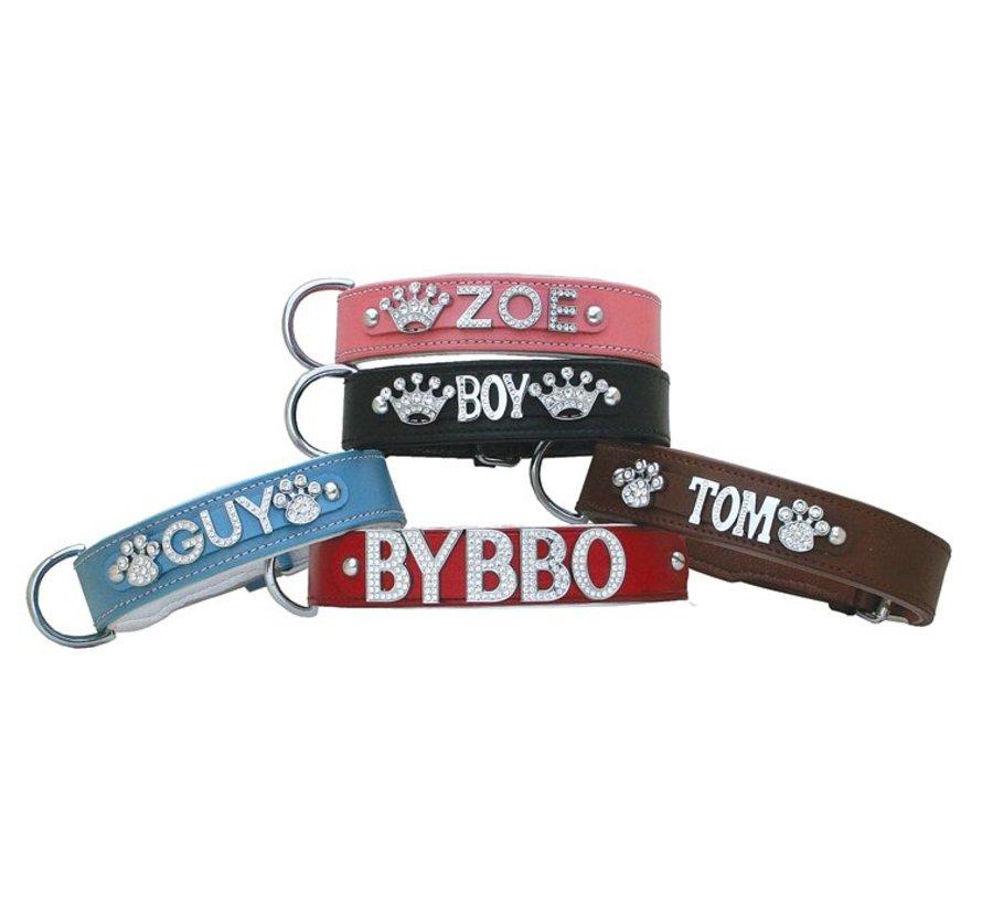 Dog collar with name Large Brown