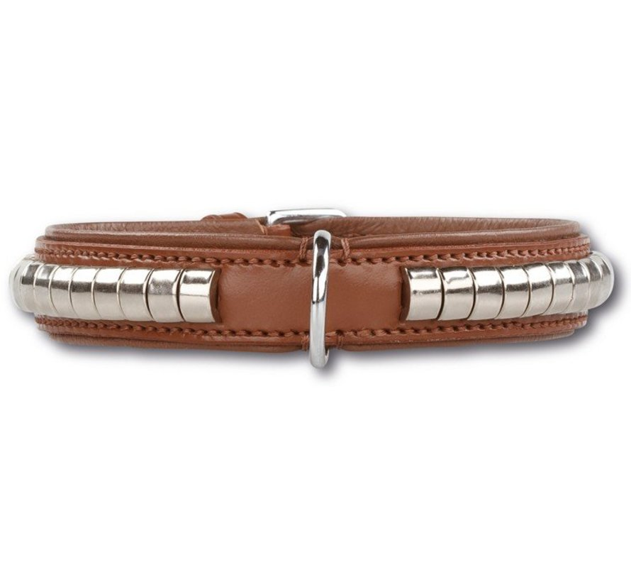 Dog Collar Silver Row Brown