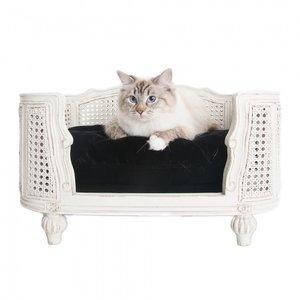 Lord Lou Cat Bed Arthur Black Velvet White Frame