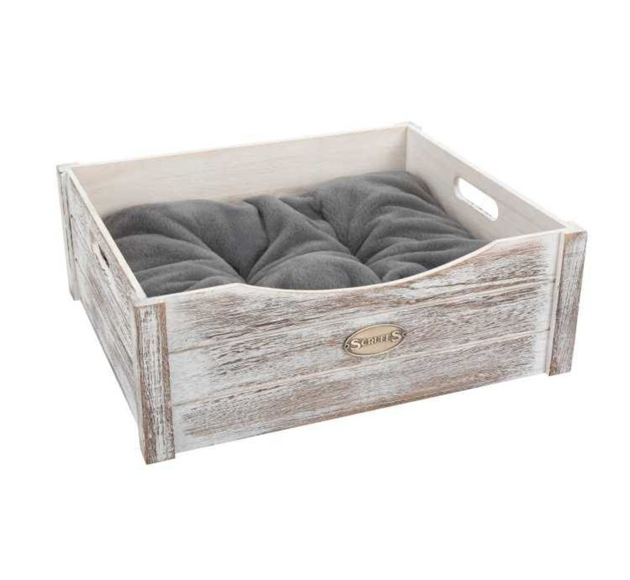 Hondenmand Rustic Wooden Bed Driftwood