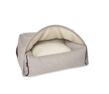 KONA CAVE Hondenmand  Snuggle Cave Bed Cream Herringbone