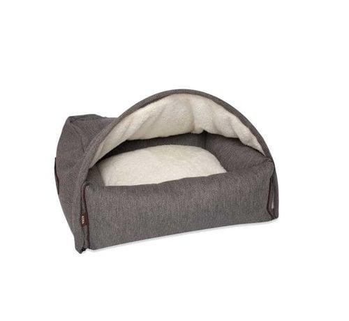 KONA CAVE Snuggle Cave Bed Grey Herringbone