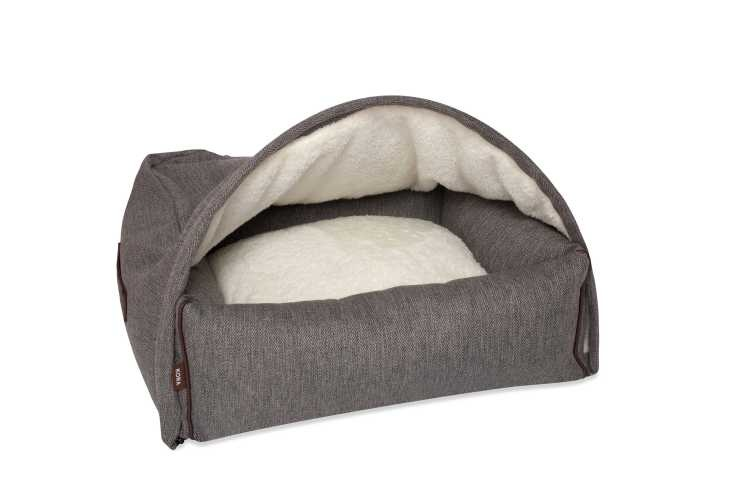Hondenmand Snuggle Cave Bed Grey Herringbone