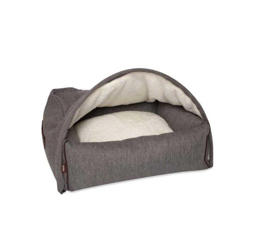 Snuggle Cave Bed Brown Herringbone