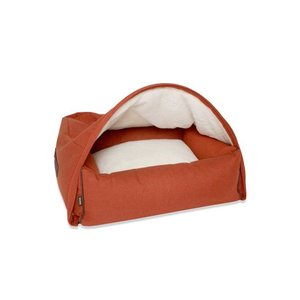 KONA CAVE Hondenmand  Snuggle Cave Bed Orange Herringbone