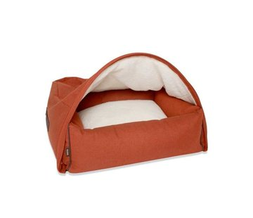 KONA CAVE Snuggle Cave Bed Orange Herringbone