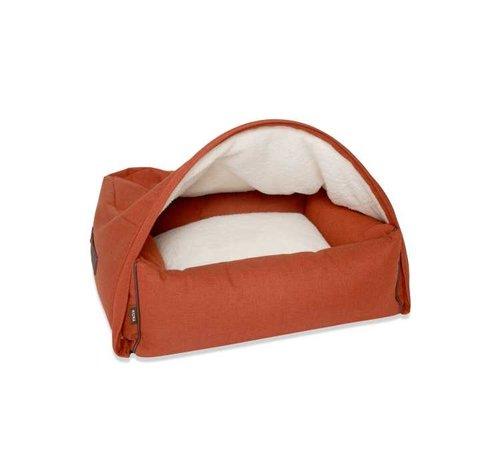 KONA CAVE Snuggle Cave Bed Orange Herringbone