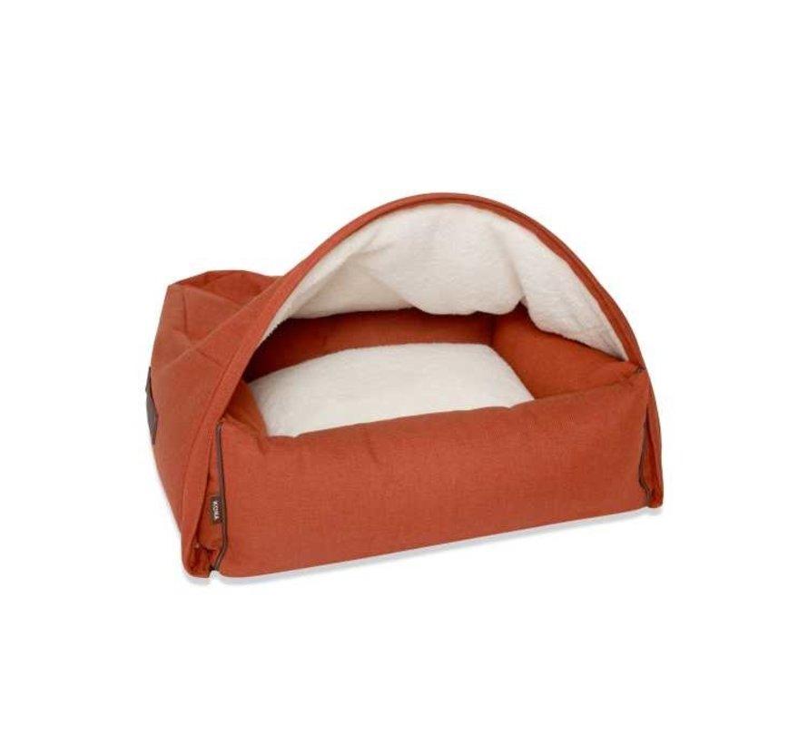 Snuggle Cave Bed Orange Herringbone