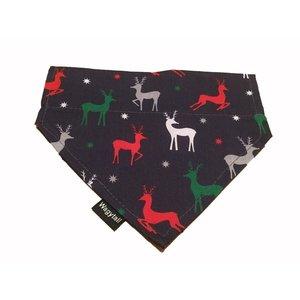 Wagytail Dog Scarf Blue Reindeer Bandana