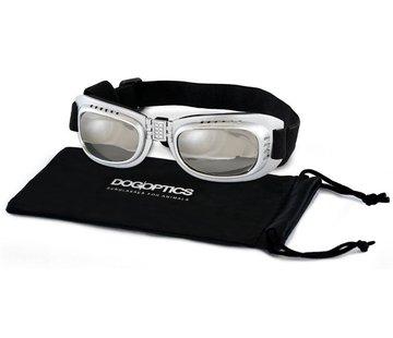 Dogoptics Hondenzonnebril Biker Silver frame/Mirror lens