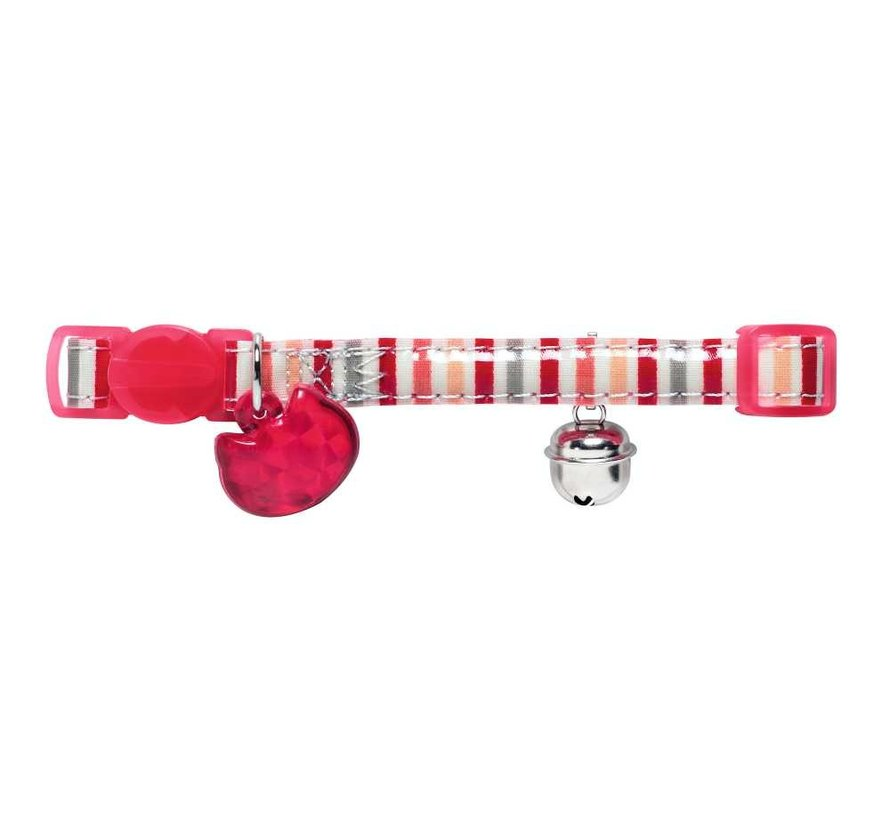 Cat Collar Glossy Stripes Pink